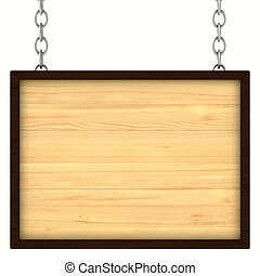 wooden signboard on the chains. Isolated 3D image