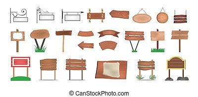Wooden signboard set. Collection of various sign