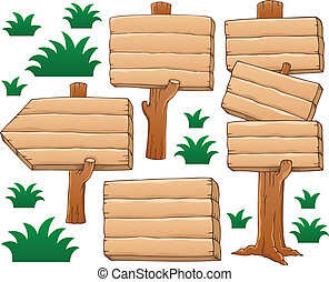 Wooden signboard theme image 2 - vector illustration.