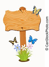 Wooden signboard with flowers and butterflies. Vector...