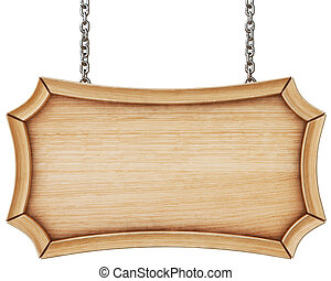 Wooden signboard with chain. Isolated on white background....