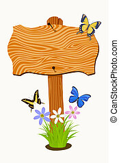 Wooden signboard with flowers and butterflies. illustration