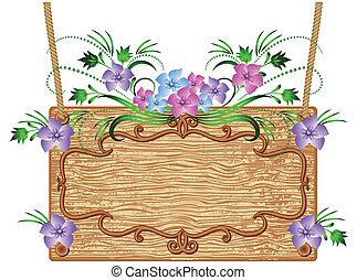 Wooden signboard with flowers for text