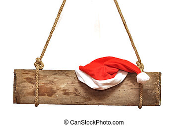 wooden signboard with Santa's hat  isolated on a white background