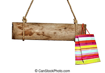 wooden signboard with shopping bag on white