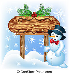 Wooden signboard with Snowman