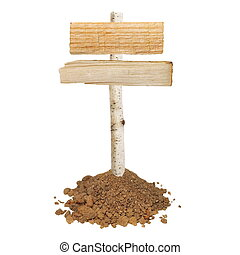 Wooden signboard with soil