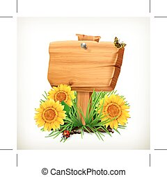 Wooden signboard with sunflowers