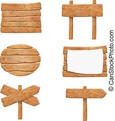 Wooden signboards, vector wood arrow sign billboard set