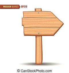 Wooden signboards, vector wood arrow sign billboard.