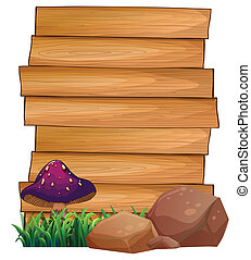 Wooden signboards with a mushroom and rocks at the bottom