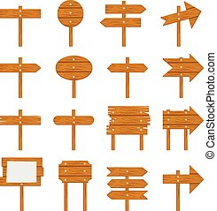 Wooden signboards, wood arrow sign