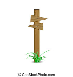 Wooden signpost board arrow directional right left