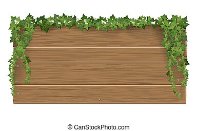 Wooden signpost covered of ivy sticks background.