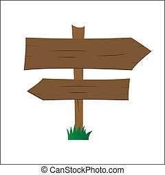 Wooden signpost - 	Wooden signpost illustration
