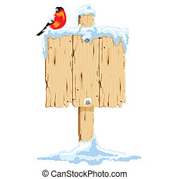 Wooden signpost in the snow - Wooden signpost with bird in...