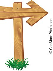 Wooden signpost standing in grass set isolated