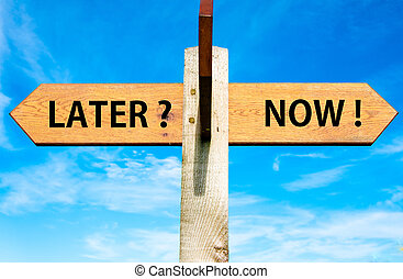 Wooden signpost with two opposite arrows over clear blue sky, Later versus Now messages, Lifestyle change conceptual image