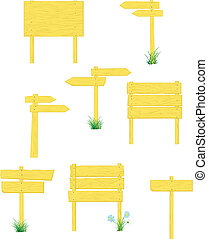 Wooden Signposts yellow - A collection of vector blank...