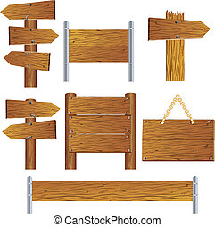Wooden Signs - Collection of vector wooden road sign and...
