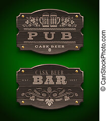 Wooden signs for Pub and Bar - Vintage wooden signs for Pub...
