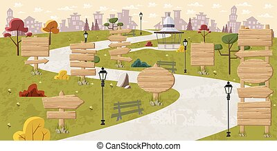 Wooden signs on park
