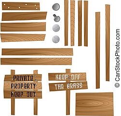 Set of wooden signs and sections so that you can make your own. Available in jpeg and eps8 formats.