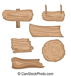 Wooden signs set, vector cartoon