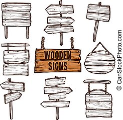 Wooden Signs Sketch Set - Wooden signposts and signboards on...