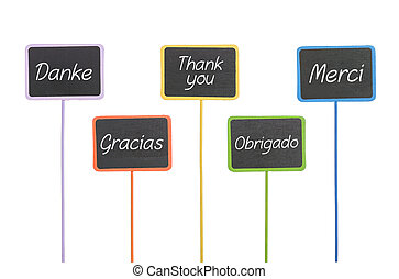 wooden signs with the text Thank You in different languages