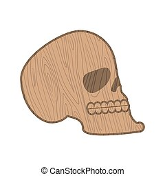 Wooden skull. Heads of skeleton of wood isolated on white background