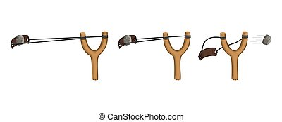 Wooden slingshot isolated on a white background. Homemade slingshot animation, wooden handle with rubber bands. Wooden catapult. Children toy for throwing stones. Vector illustration