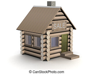 Wooden small house. The isolated illustration. 3D image.