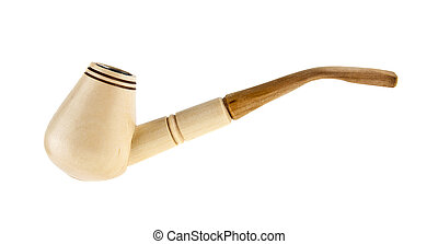 wooden smoking pipe isolated on white background