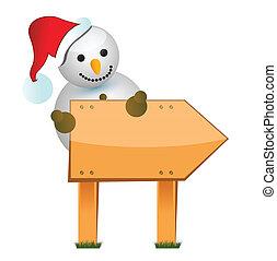 wooden snowman sign