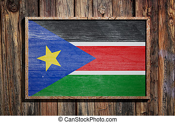 Wooden South Sudan flag - 3d rendering of South Sudan flag...