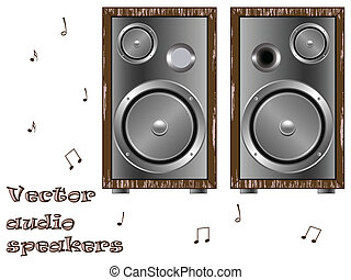 wooden speakers against white background, abstract art...