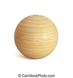 Wooden sphere 3d rendering, spherical shape made of wood isolated on white background