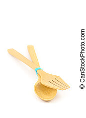 Wooden Spoon and fork on isolated background