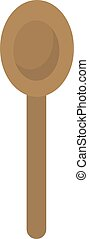Wooden spoon, illustration, vector on white background.
