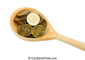 Wooden spoon with coins