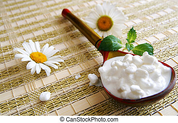 Wooden spoon with cottage cheese - A wooden Russian ...