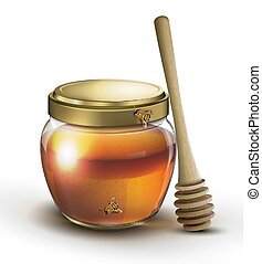 Wooden spoon with glass jar of honey vector