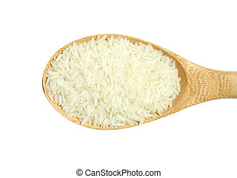 wooden spoon with rice isolated on white background