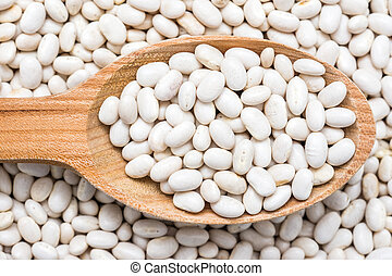 Wooden Spoon With White Beans