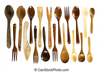 Wooden spoons and forks on white background