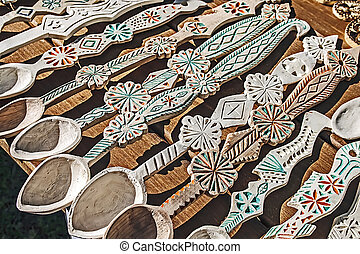 Wooden spoons carved