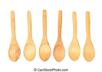 Wooden spoons isolated on white