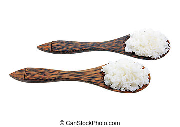 Wooden Spoons with Boiled Rice