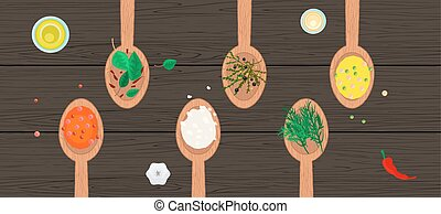 Wooden spoons with spices and herbs on wood surface.